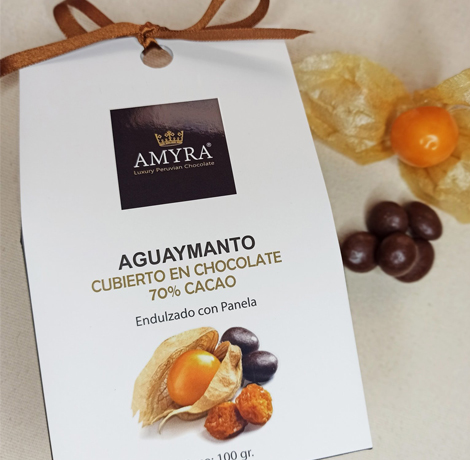 aguaymanto bañado en chocolate